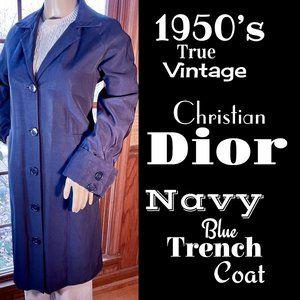 ▪️VTG▪️DIOR▪️1950's Navy Blue Trench Coat